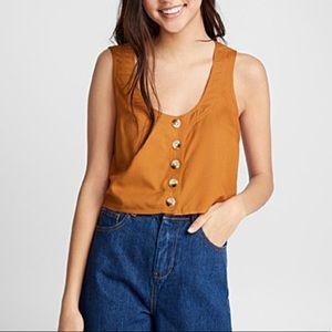 Twik Brown Buttoned Crop Top